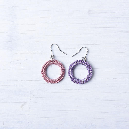 SIN ピアス(ラメピンク&ラメバイオレット) / Sin Pierced Earring (Lame Pink & Lame Violet ) [SE171P24]