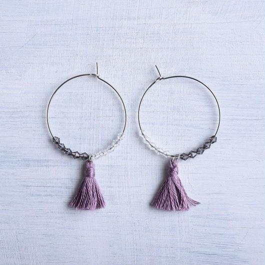 フープタッセルピアス(グレープ) / Hoop Tassel Pierced Earring (Grape )