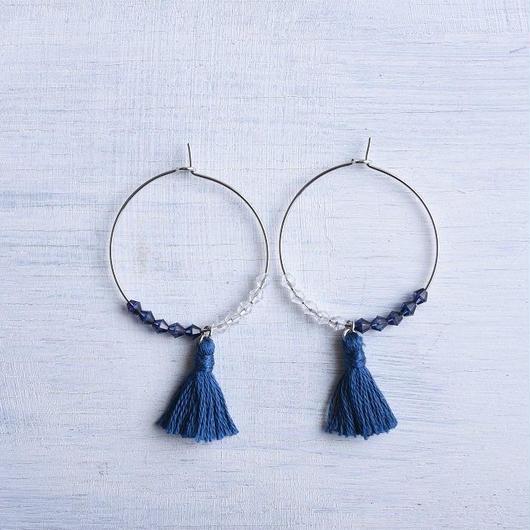 フープタッセルピアス(ネイビー)/ Hoop Tassel Pierced Earring  (Navy) [SE163P31]