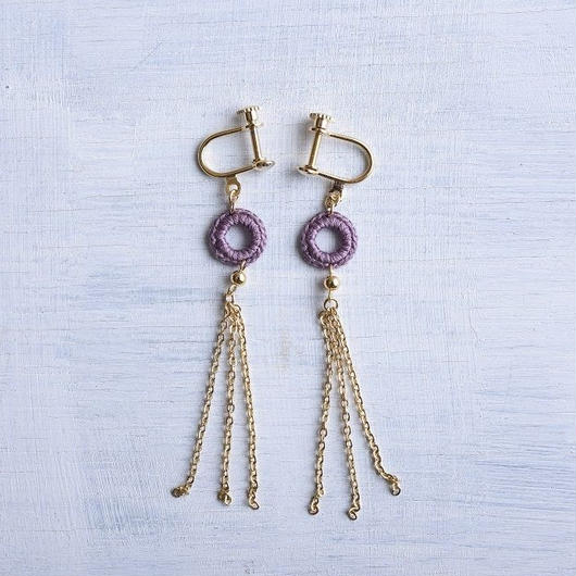 チェーンタッセルピアス・イヤリング(グレープ) / Long Chain Tassel Pierced Earring  (Grape)