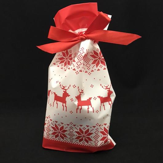 リボン付 クリスマスラッピング袋 1袋5枚入