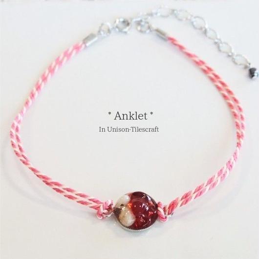 くみひも☆天然石と赤いガラス粒のアンクレット【ピンクMix】