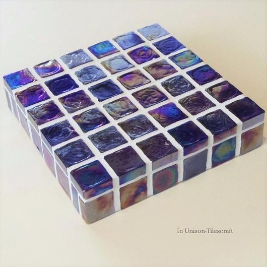 【K様オーダー品】ブルー ガラスモザイクタイルのディスプレイトレイ スクエア (ミニ)