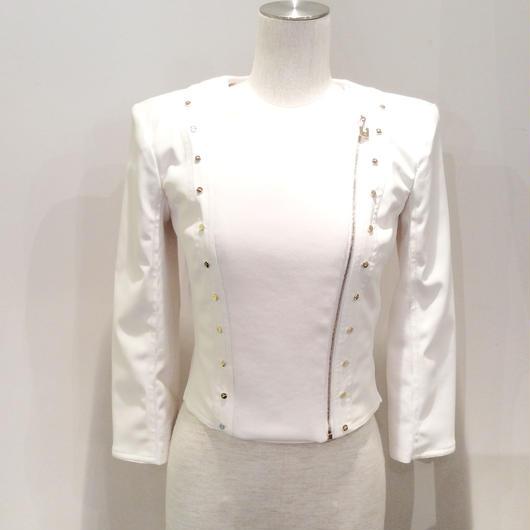 ELISABETTA FRANCHI(エリザベッタ フランキ) eco leather rib jacket  1816012