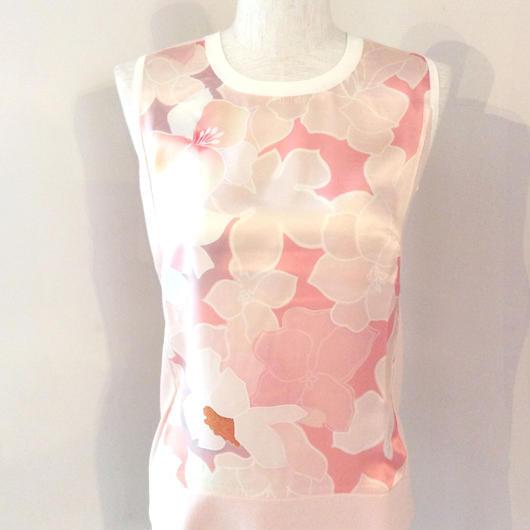 PAULE KA(ポール カ)silk cotton cutsew pink/green 1845-1223-0203