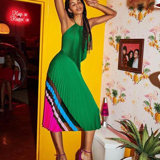 MILLY(ミリー) stretch silk pleats skirt