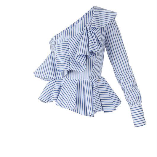 ELISABETTA FRANCHI(エリザベッタ フランキ)  one shoulder striped blouse 1813031