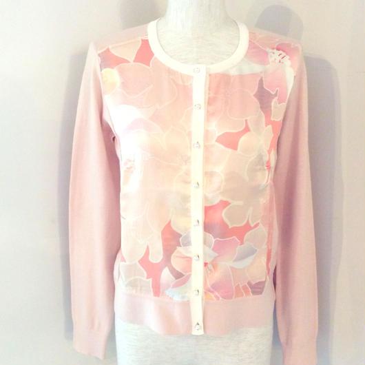 PAULE KA(ポール カ)silk cotton cardigan pink/green 1845-1222-0104