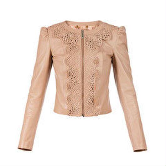 ELISABETTA FRANCHI(エリザベッタ フランキ) leather jacket with lace 1816006