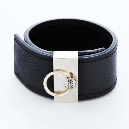 padlock leather bangle