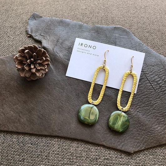 long ring  brass  GREEN デザイン / ピアス / イヤリング