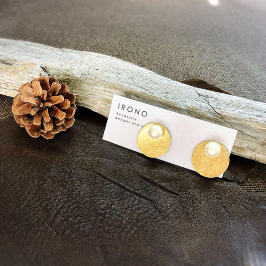 Circle one pearl brass / ピアス / イヤリング
