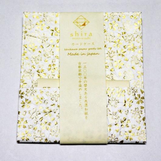 和紙カードケース 白 <shira> 「桜」