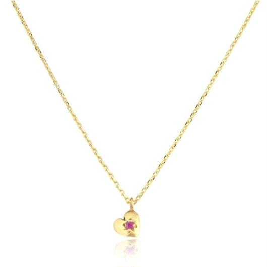 TINY HEART NECKLACE 22K GOLD VERMEIL/RUBY( ゴールドプチハートネックレス ルビー)