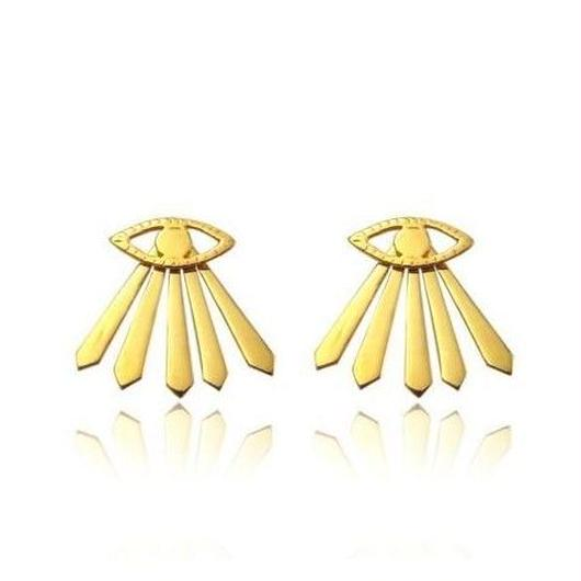 EYE	&	RAY	OF	LIGHT	EARRINGS 22K GOLD VERMEIL (ゴールドアイ&光線ピアス)