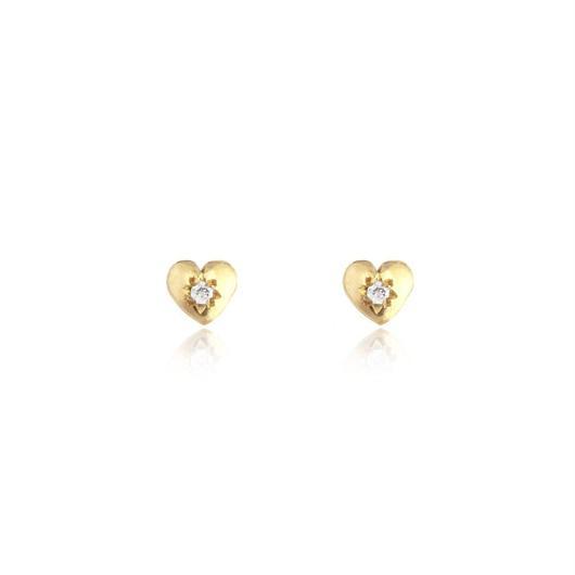 TINY HEART SUTD 22KGOLDVERMEIL / DIAMOND(ゴールドプチハートピアス ダイアモンド)