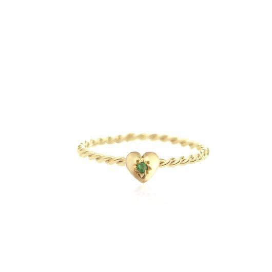 TINY HEART RING 22K GOLD VERMEIL /EMERALD(ゴールドプチハートリング エメラルド)