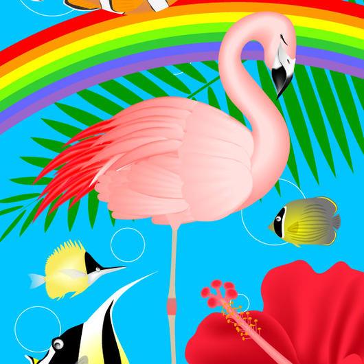A4イラスト095 フラミンゴの夢