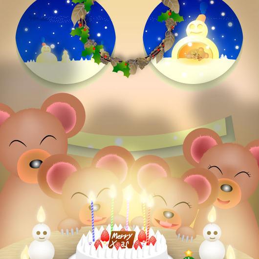 A4イラスト079 雪だるまハウスのクリスマス