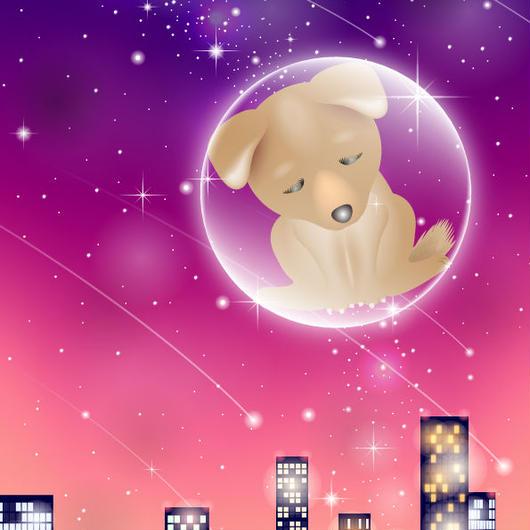 A4イラスト132 星になった犬たち