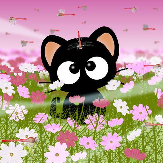 A4イラスト027 秋桜畑のりっちー君
