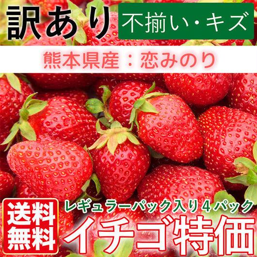 送料無料 訳あり有機いちご恋みのり いちご4パック レギュラーパック入り 熊本県産