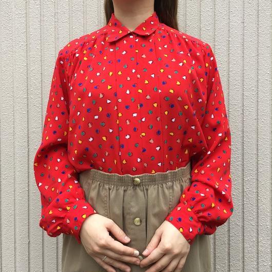 USA製レッド  総柄 長袖デザインシャツ