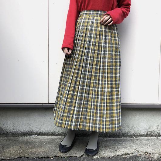 1950's~60's グレー×イエロー チェック柄ウールスカート