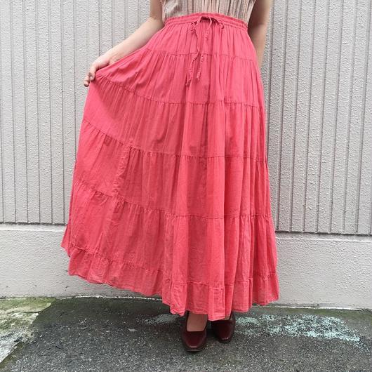 サーモンピンクインド綿スカート