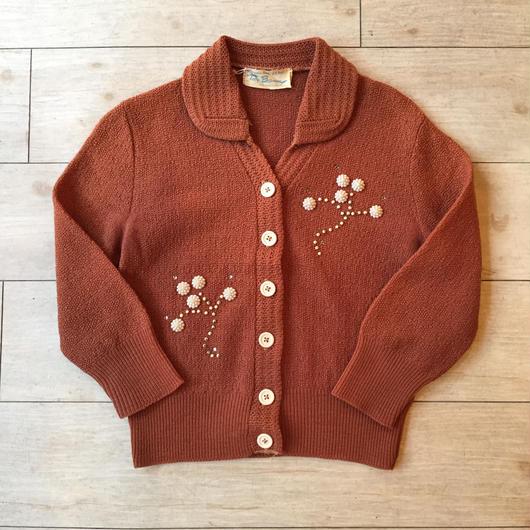 vintage 50's~60's ブラウン ビーズ刺繍カーディガン