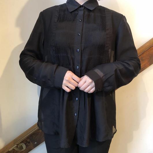 ブラック シースルータックシャツ