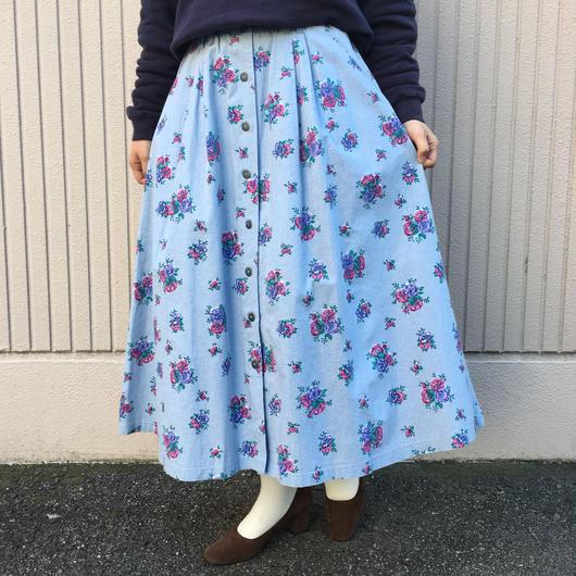 花柄 ダンガリースカート
