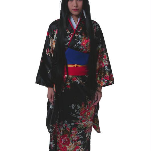 和柄 シルクの着物 アニメ風 Sサイズ 150cm-155cm