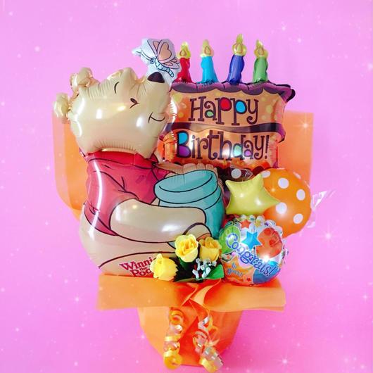 人気のプーさん♡お誕生日ケーキバルーン♡