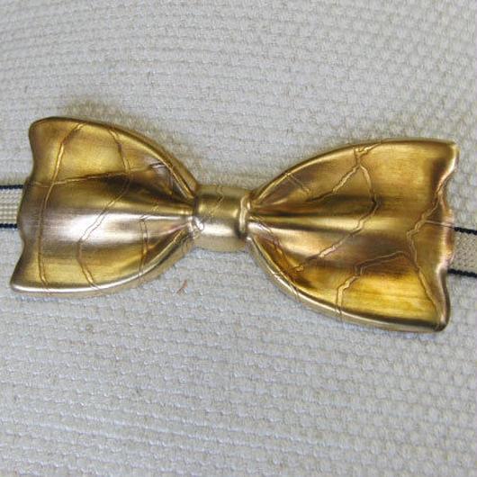 真鍮 リボン型帯どめ 着物や浴衣の帯飾りに