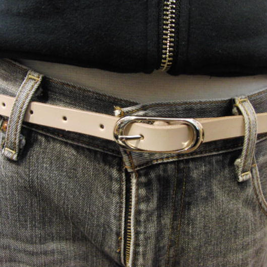 サイズ調整無料・各種サイズ可 ヌメ生成り 牛本革1.5cm幅レザーベルト