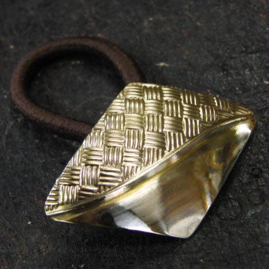 真鍮製 菱形ループコンチョ/ヘアゴム付き/縫い留めで飾りとして