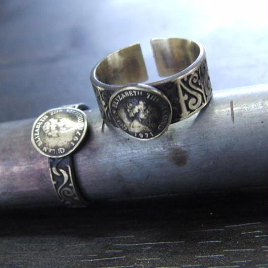 コイン彫模様真鍮ブラスリング・トゥリング 指輪1本 サイズ1号~15号