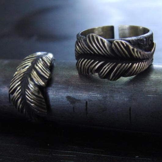 フェザー彫模様真鍮ブラスリング・トゥリング 指輪1本 サイズ1号~15号