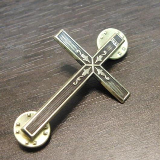 真鍮製 クロス・十字架型2 ハットやバッグにピンズブローチ