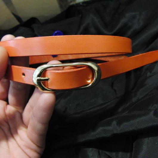サイズ調整無料・各種サイズ可 オレンジ 牛本革1.5cm幅レザーベルト