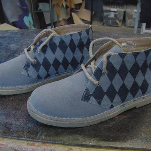 M~LL限定 チェック染め本革靴 レディースグレースエードレザーブーツ