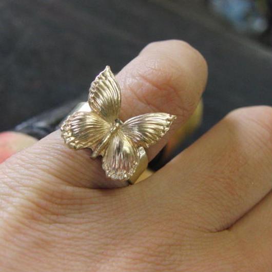 バタフライ真鍮ブラスリング 指輪サイズ調整無料