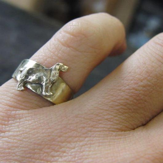 犬型モチーフ真鍮ブラスリング 指輪サイズ調整無料