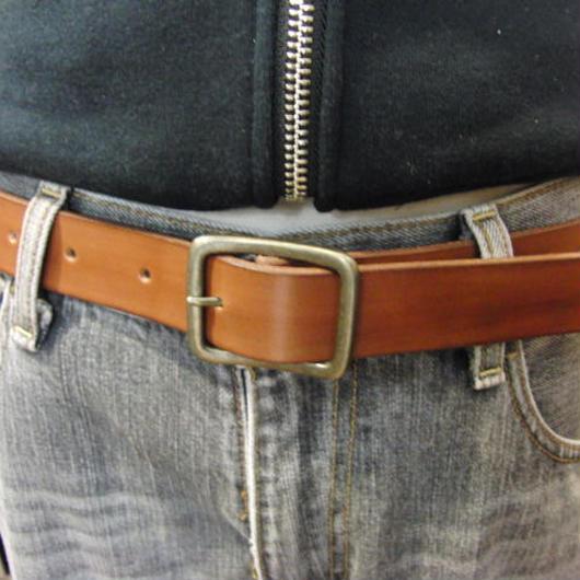 サイズ調整無料・各種サイズ可 ブラウン 牛本革3cm幅レザーベルト