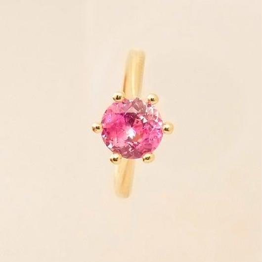 k18yg ピンクサファイヤ ダイヤモンド リング