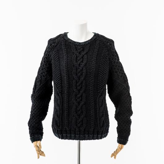 冬景色 手編みアラン風プルオーバー