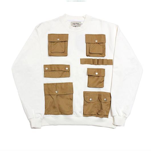Pocket Detail Sweatshirts – White&Brown