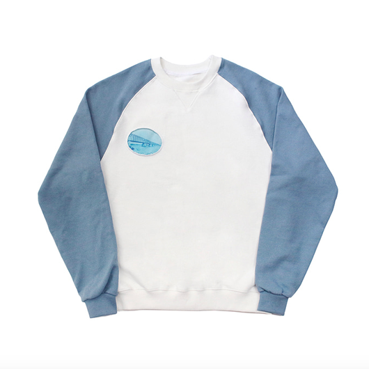Vintage Picture Raglan T-Shirts – White&Skyblue