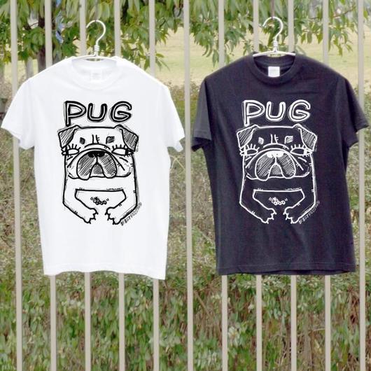 PUGプリント Tシャツ・ライトオンス